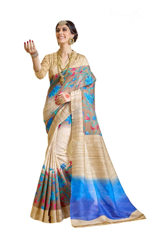 Jaanvi fashion Women's Raw Silk Saree Free Size Blue
