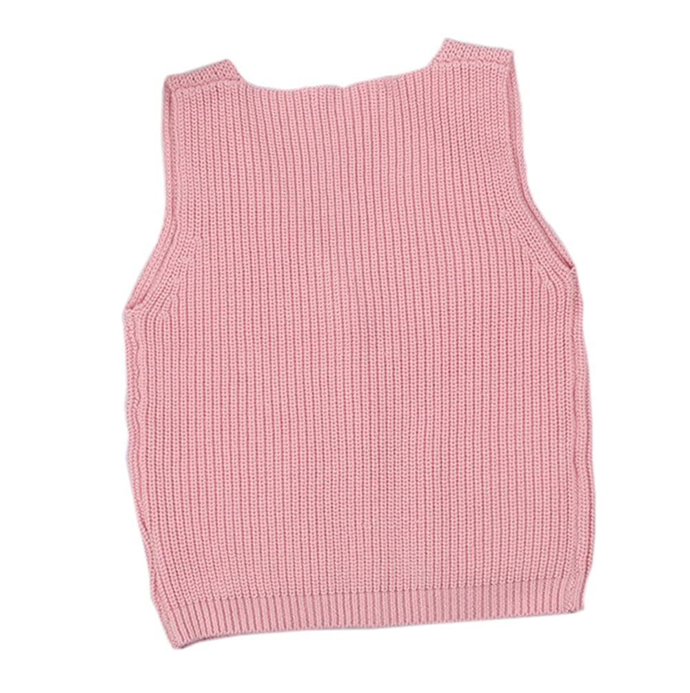 Baby Little Boys Girls Knit Sweater Vest Kids Cotton V Neck Cardigan Waistcoat Button-Down