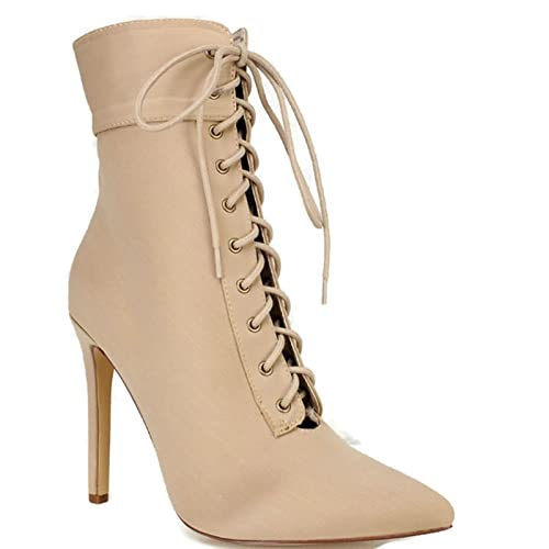 Olivia and Jaymes Women s Pointed Toe Ankle Booties Lycra Lace Up Side  Zipper Pencil Stiletto Heel Boots  Buy Online at Low Prices in India -  Amazon.in 19b64895b137