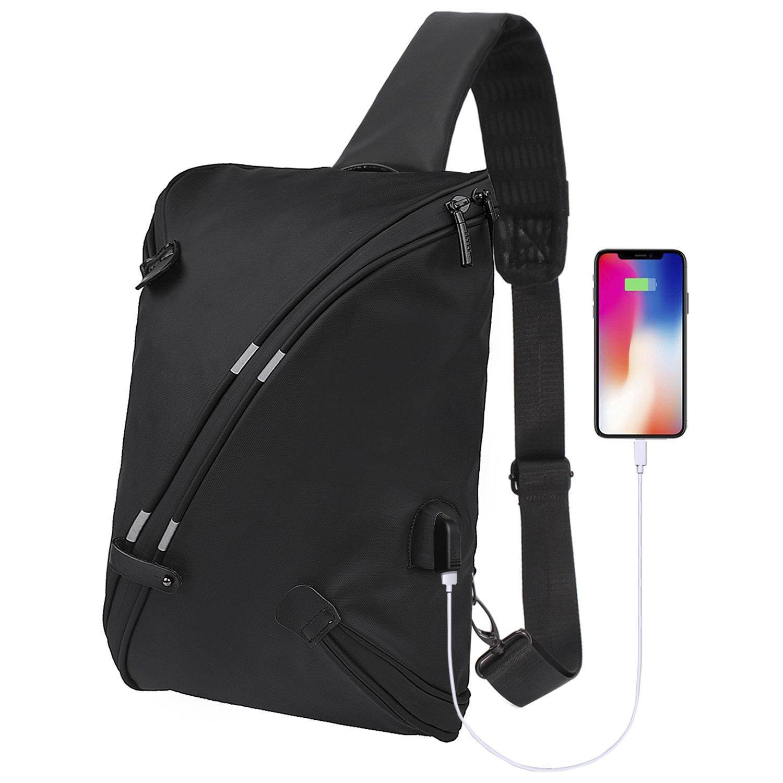 BeckySling Chest Shoulder Backpack,Travel Fashion Crossbody Bag Multipurpose Casual Daypacks for Men&Women,Hiking Triangle Rucksack with USB Charging Port-Black