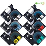 6 Packs Combo Set 1/2 Inch 12mm Compatible DYMO D1 Label Tapes Replacement for DYMO 45010 45013 45016 45017 45018 45019 for DYMO Label Manager 160 280 420P PnP 220P 360D 450 210D