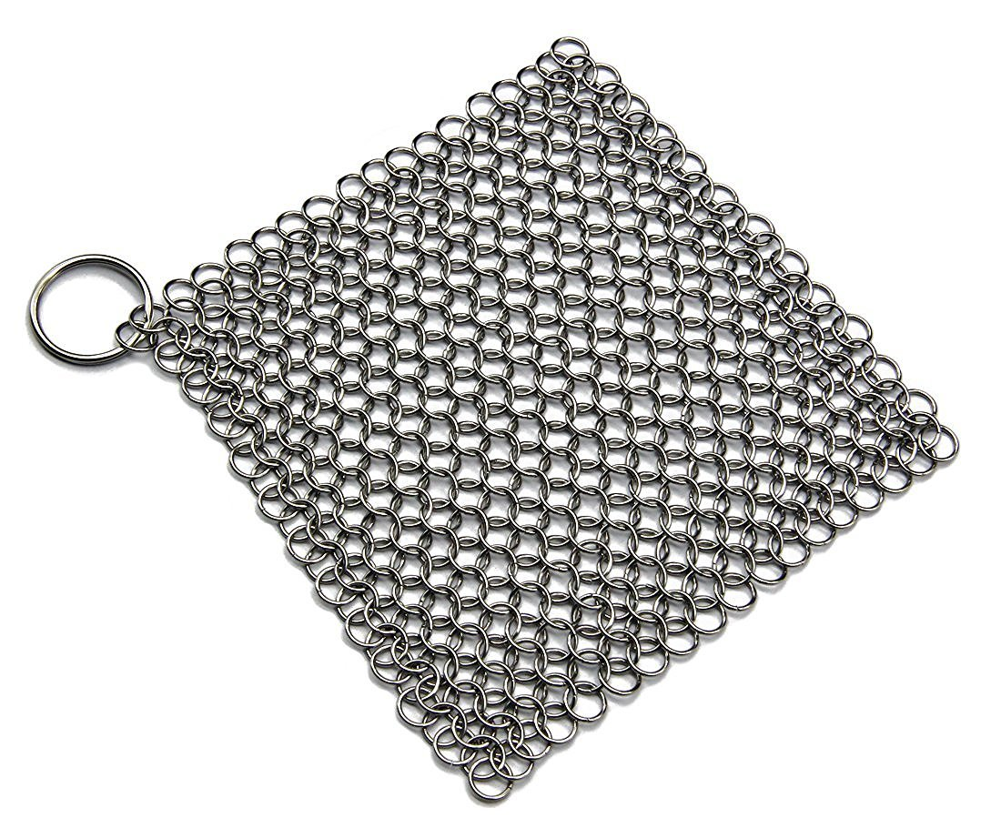 Peacechaos Cast Iron Cleaner XL 8x6 Inch Premium Stainless Steel Chainmail Scrubber for Cookware,Skillet,Pan,Griddle,Works,Casseroles,baking sheet,tea pot,cookie sheet,cauldron,hibachi,pie pan (1) by Peacechaos (Image #1)