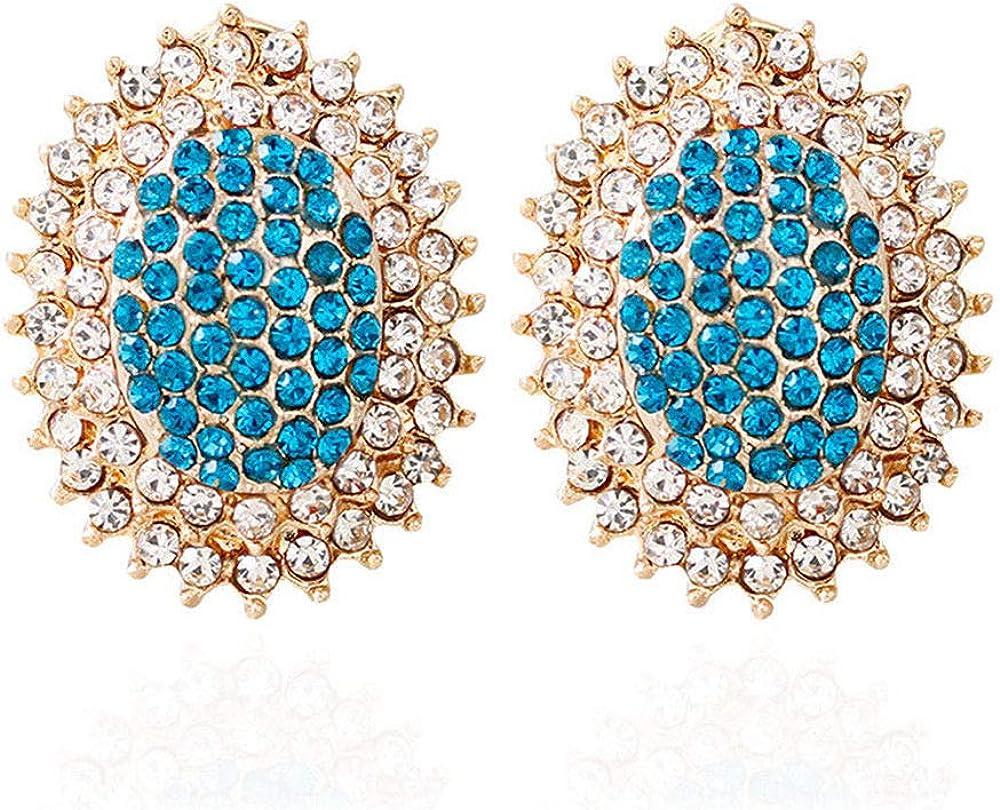 ZRDMN pendientes de botón colgantes joyas de perlas para las mujeres Moda europea y americana Encaje Micro-inserto taladro a todo color azul zafiro Joyería Pendientes