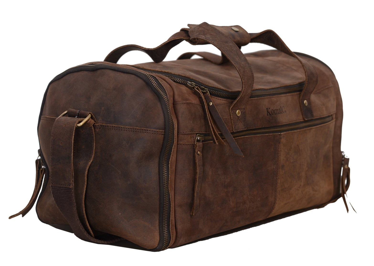 KomalC 21 inch U Zip Duffel holdall Travel Sports Overnight Weekend Leather Bag for Gym Sports Cabin by KomalC (Image #3)