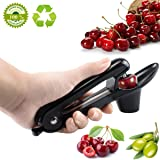 Cherry Pitter Tool ,Cherry Olive Corer Pitter Silicone Grips Design Makes Juice No Splash (Black)