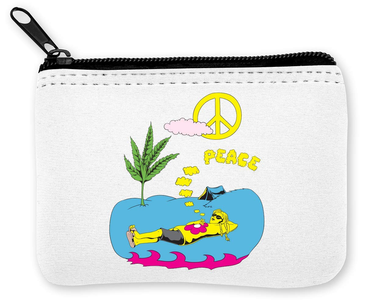 Peace and Chill Weed Tent Hippie Monedero de la Cremallera ...