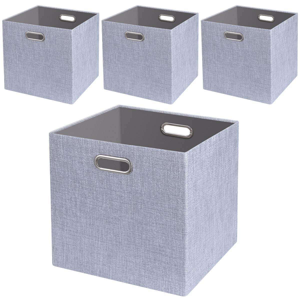 Foldable Storage Bins,13x13 Storage Cubes Basket Containers for Shelf Cabinet Bookcase Boxes,Thick Fabric Drawers,4pcs, Sliver Grey by Posprica
