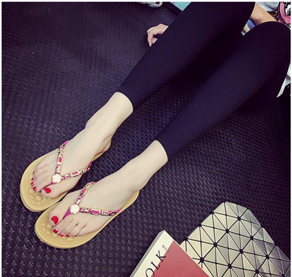 Sommer Dame neue Flip-Flops koreanische Version mit Drill Bad rutschfeste  Sandalen flache untere Zehe Hausschuhe schwangere Frauen Strand Schuhe (  Color ...
