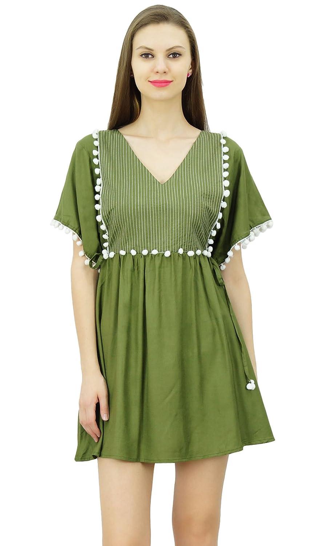 05df7076b9c70 Bimba Women Pom Pom Lace Kaftan Dress Short Kimono Sleeve Designer Beach  Dresses Olive Green at Amazon Women's Clothing store: