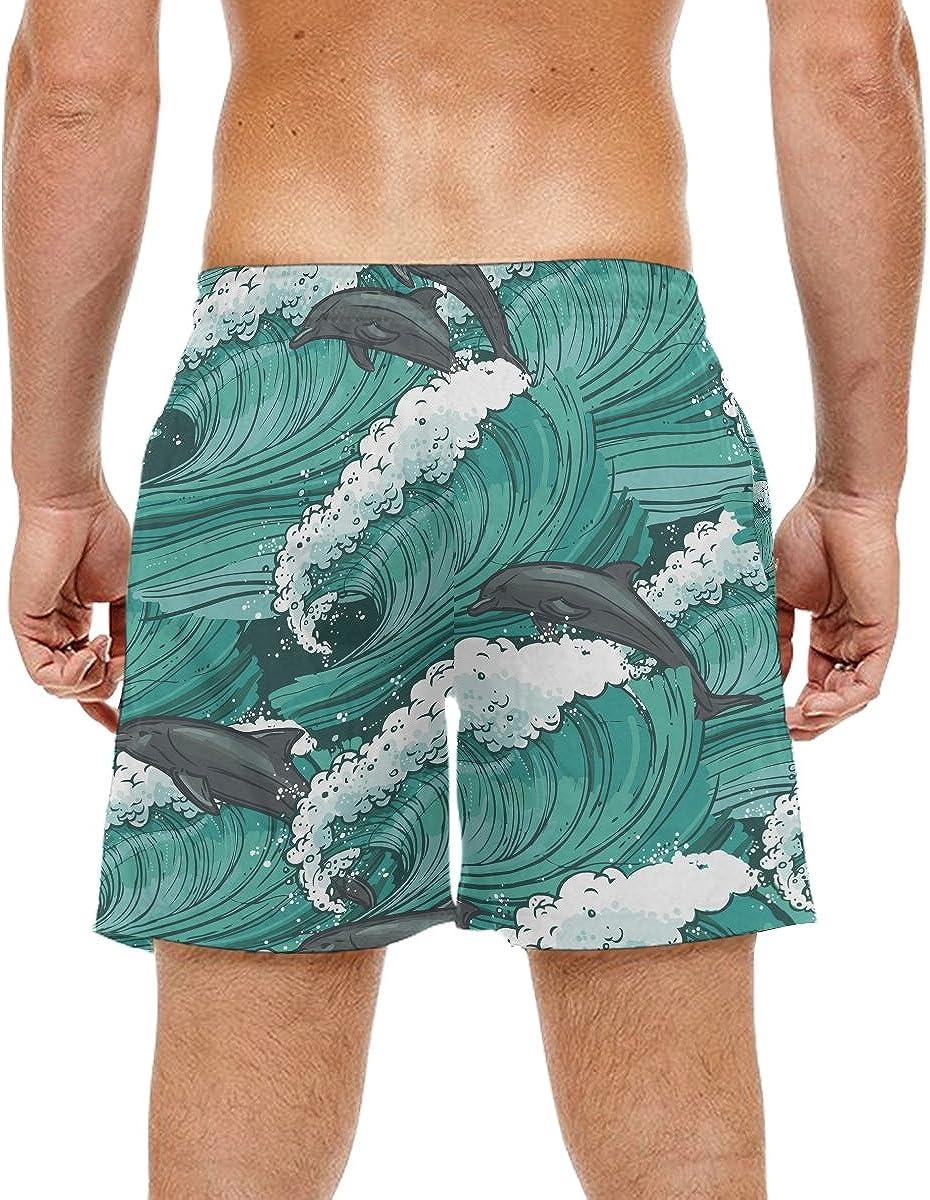 Dolphin Surfing Mens Swim Trunks Beach Shorts Stripe Quick Dry Casual Polyester Swim Shorts