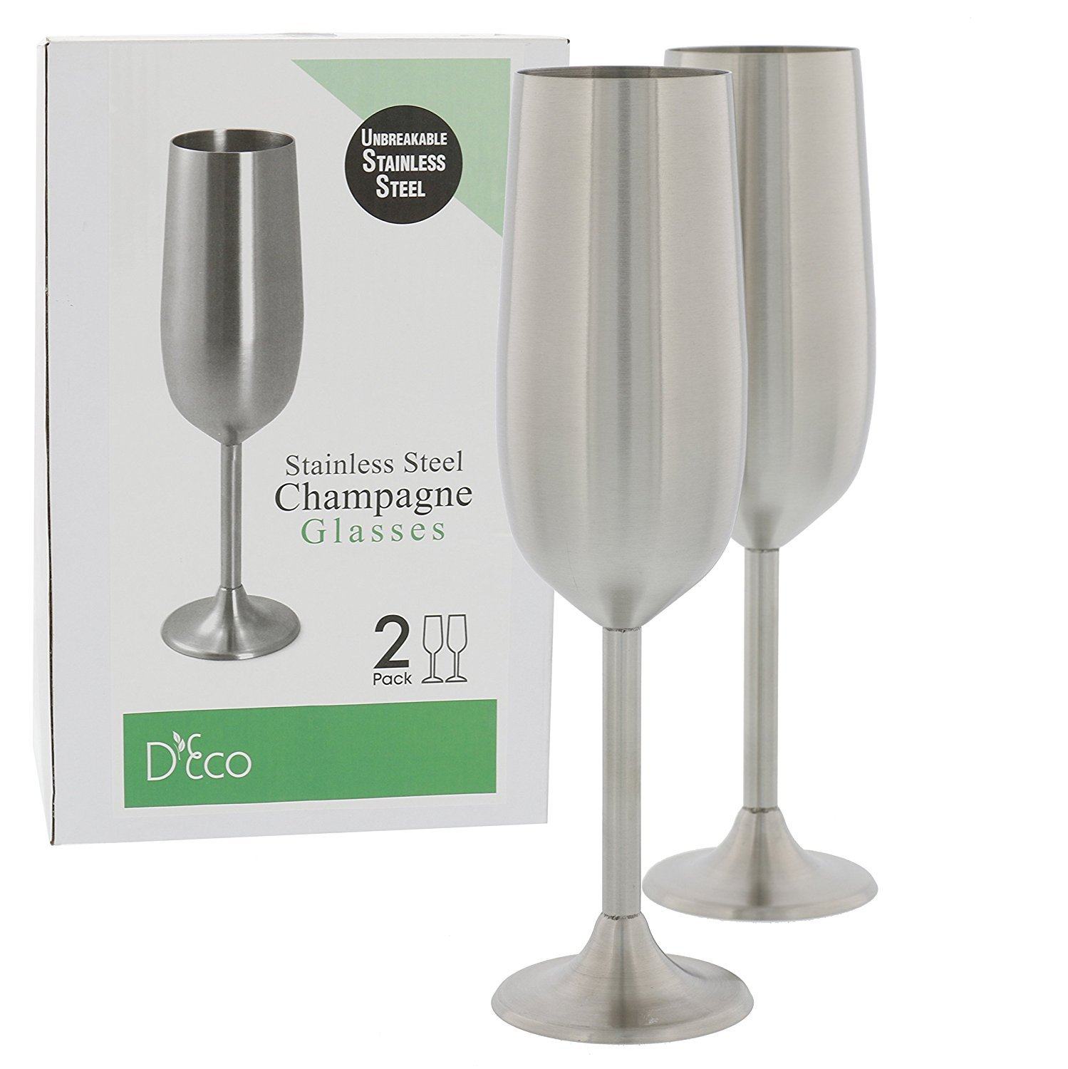 Stainless Steel Champagne Glasses Set of Two 8 Ounce Champagne