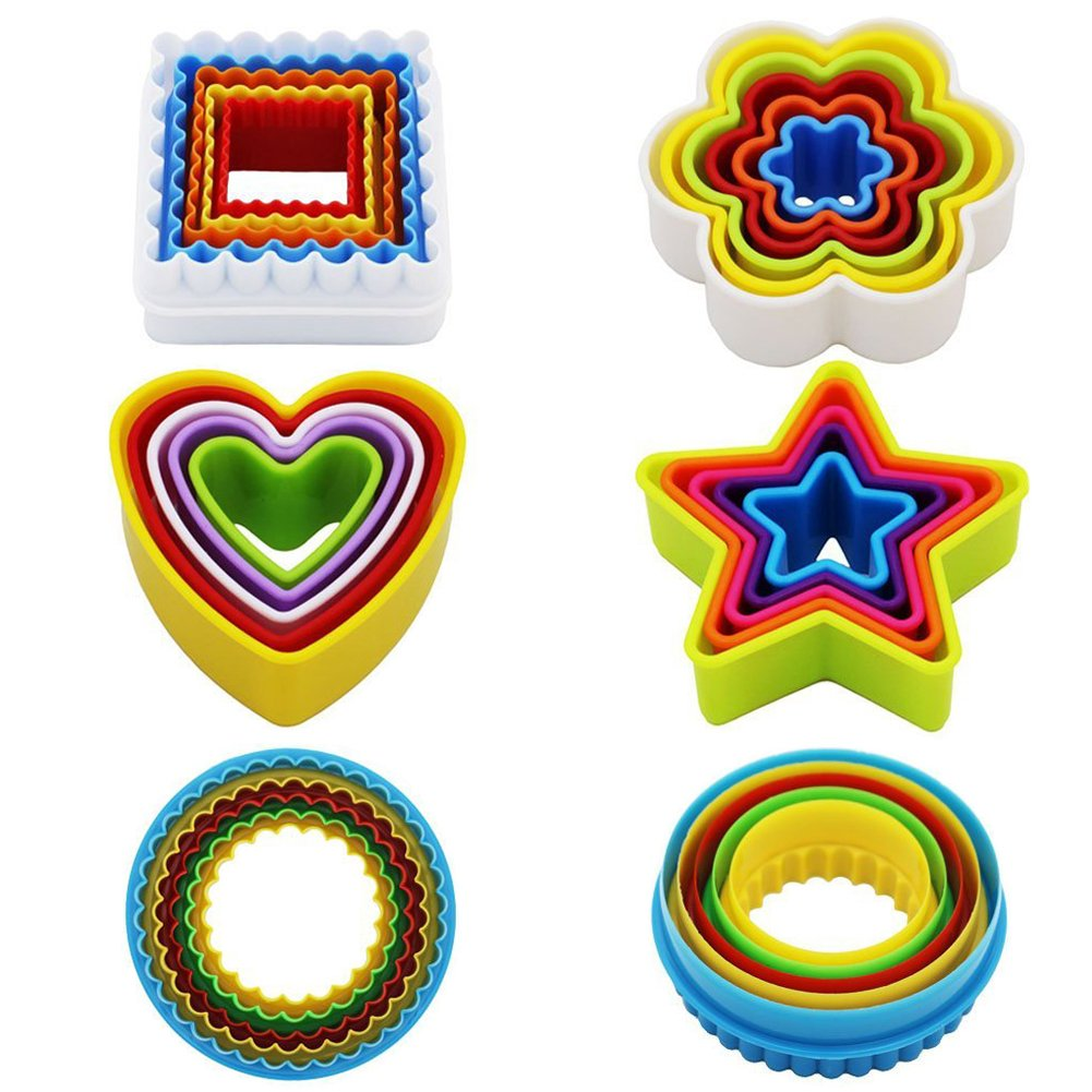 Cookie Cutter Set Plastic Cookie Cutter Shapes Biscuit Cutters (Star Flower Round Square Heart Shapes) Bpa-Free Colorful Set of 25 by KAISHANE