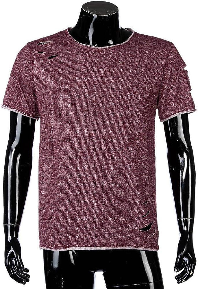 JSPOYOU Shirts Men Fashion Hole Round Collar Tees Shirt Short Sleeve T Shirt Blouse