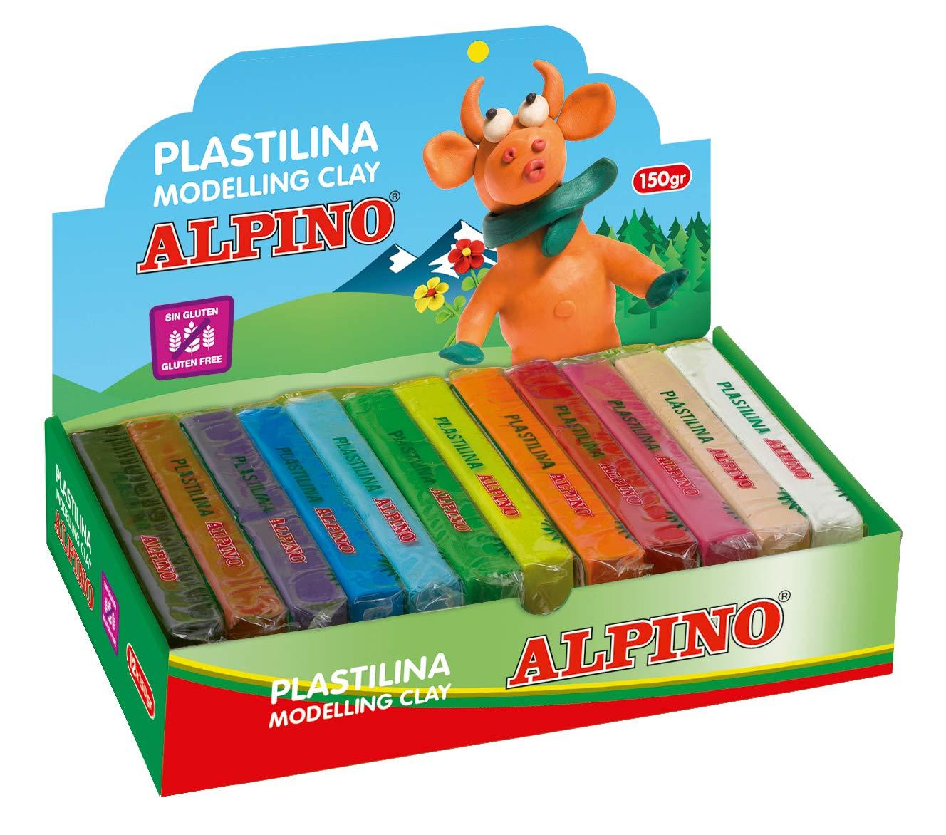 Alpino DP000915 - Espositore di plastilina con 24 pezzi da 50 g, colori assortiti DP000915