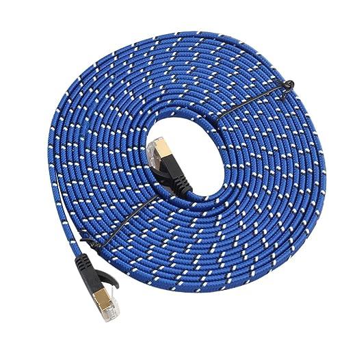 Cat 7 Cable de Ethernet Ultra Flat Cable de conexión para módem router LAN red - Construido con chapado en oro y apantallado RJ45 conectores y trenzado de ...