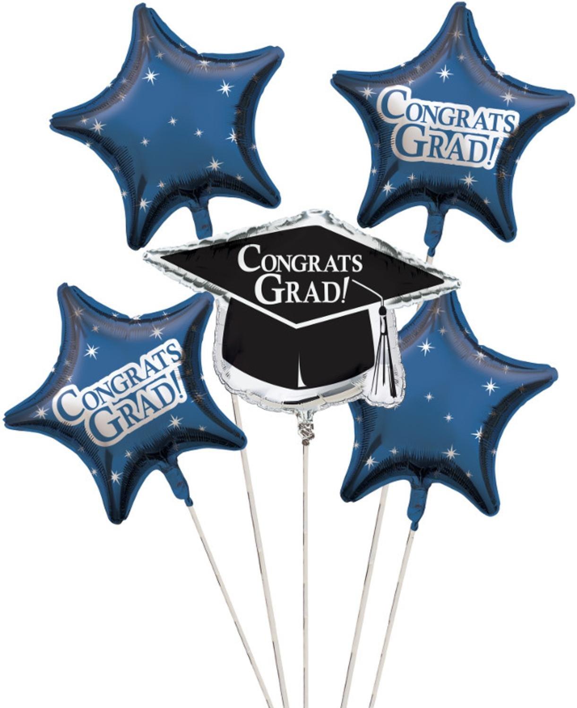 Club Pack of 12 True Blue Metallic Foil ''Congrats Grad'' Graduation Day Party Balloon Clusters