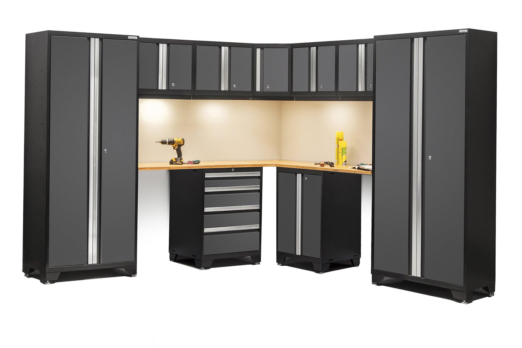 NewAge Products 50064 Bold 3.0 Series Bamboo Corner Storage Set (12 Piece), Gray