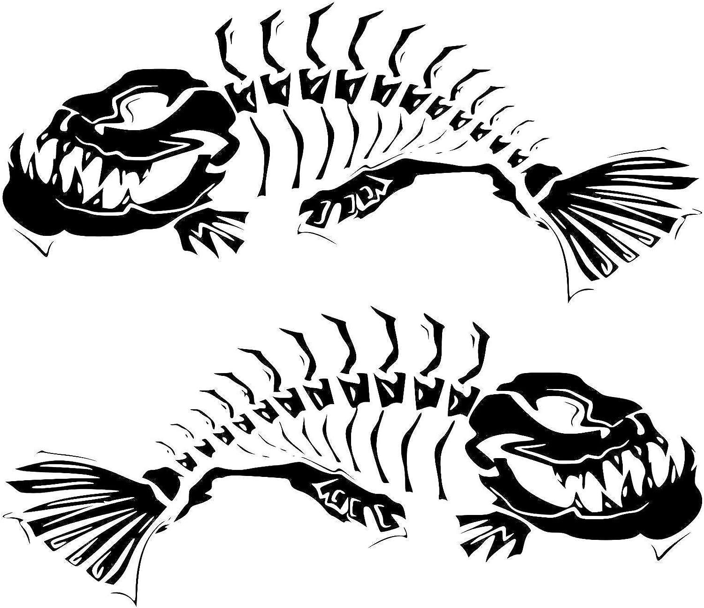 2 Skeleton Fish Boat Decals Large Fishing Graphic Sticker Shark Salt Skiff v6 (Matte Black)