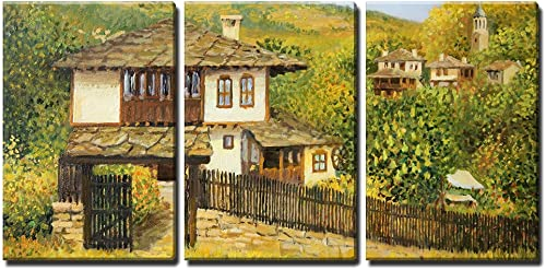 wall26 – 3 Piece Canvas Wall Art – Rural Colorful Autumn Landscape in Village Bojenci in The Balkan Mountains – Modern Home Decor Stretched and Framed Ready to Hang – 24 x36 x3 Panels
