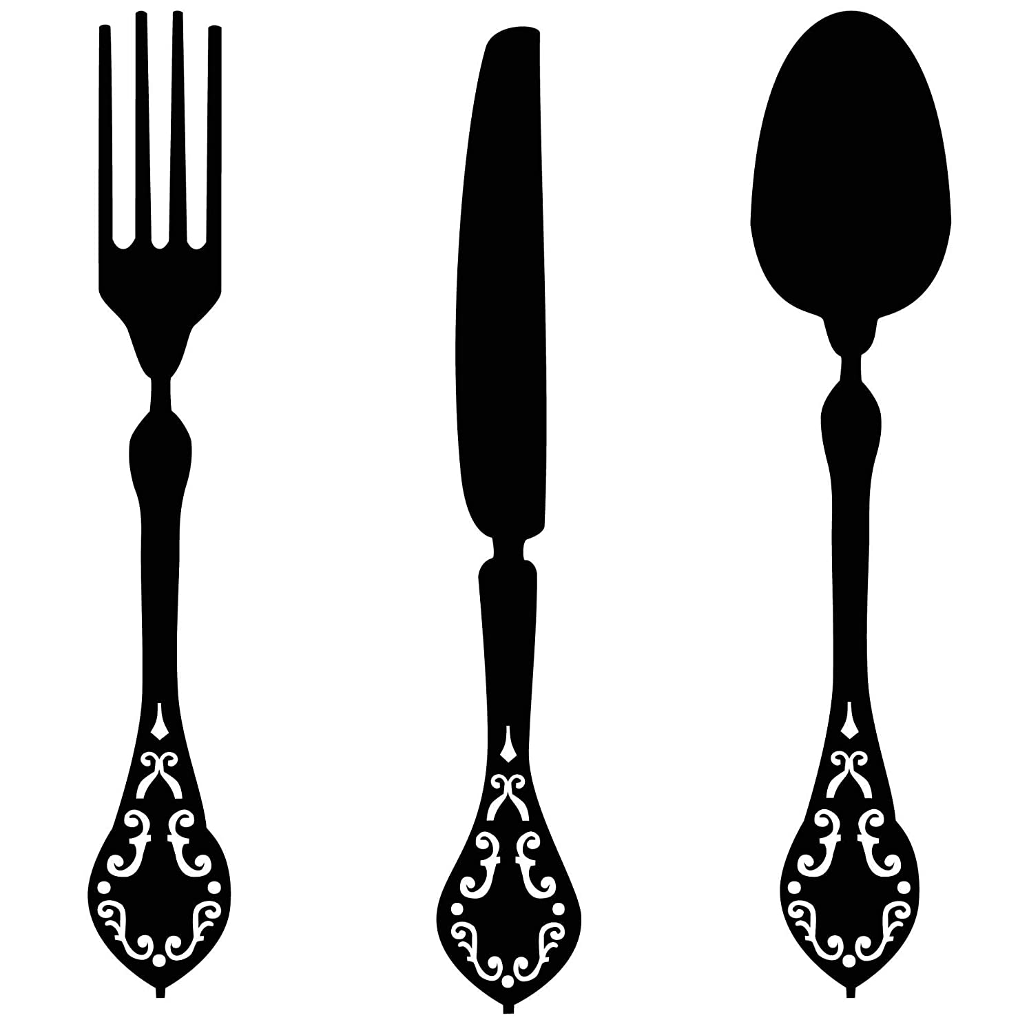 Kitchen Silverware Utensils Wall Decals | Fork Knife, Spoon Silhouettes | Dining Room, Restaurant Decor Vinyl Stickers | Black, White, Gray, Pink, Blue, Metallic Gold, Silver, Red | Small, Large Sizes
