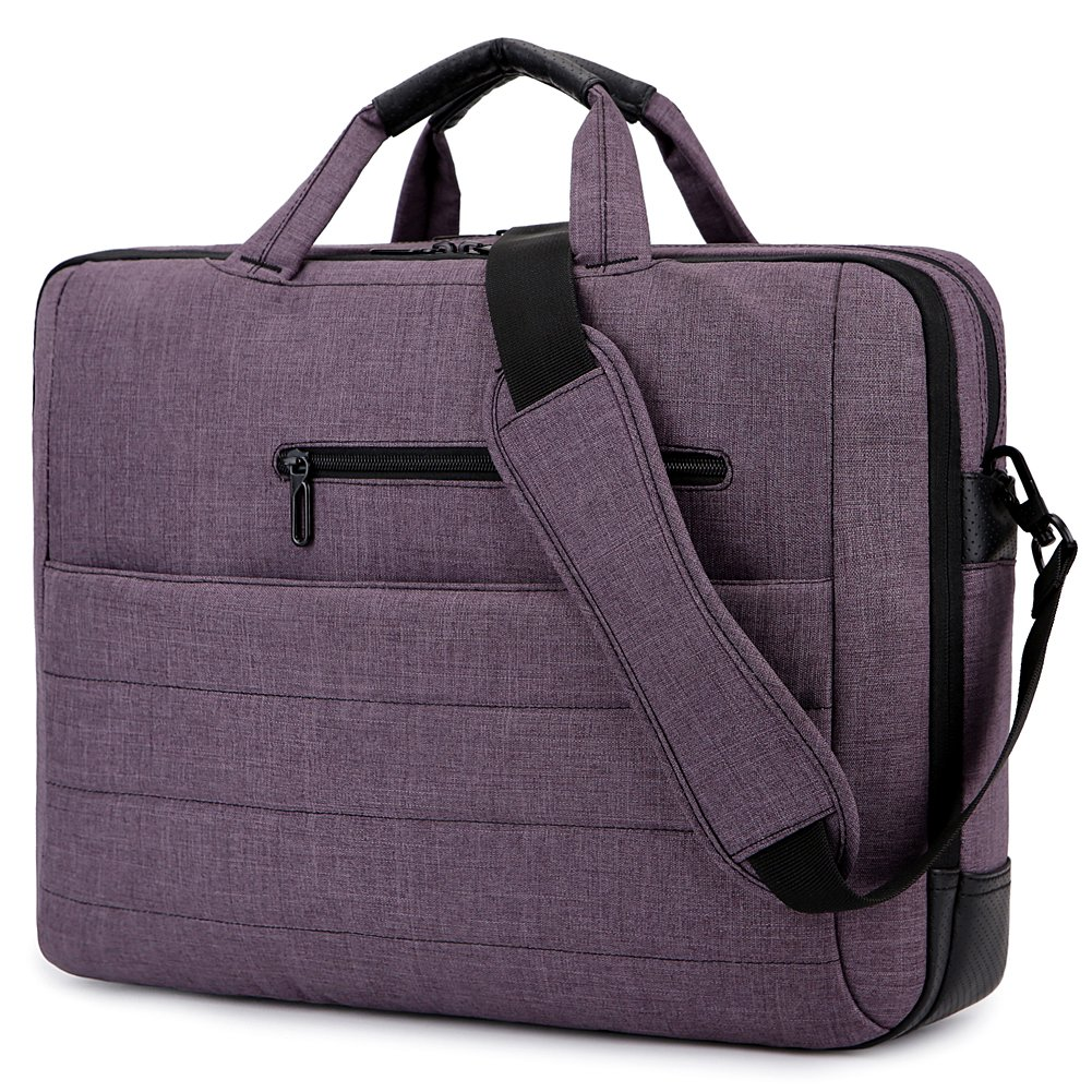 BRINCH 17.3 Inch Nylon Shockproof Carry Laptop Case Messenger Bag For 17-17.3 Inch Laptop/Notebook/MacBook/Ultrabook/Chromebook with Shoulder Strap Handles and Pockets (Dark Purple)