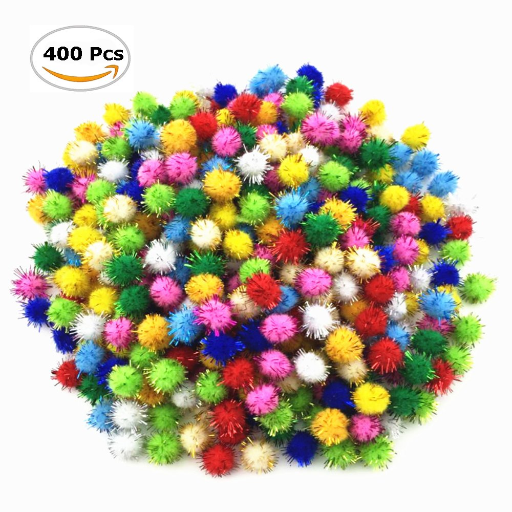 Fireboomoon 400pcs Glitter Poms Sparkle Balls 1/2 Color Assorted COACHING ADVANTAGES INC