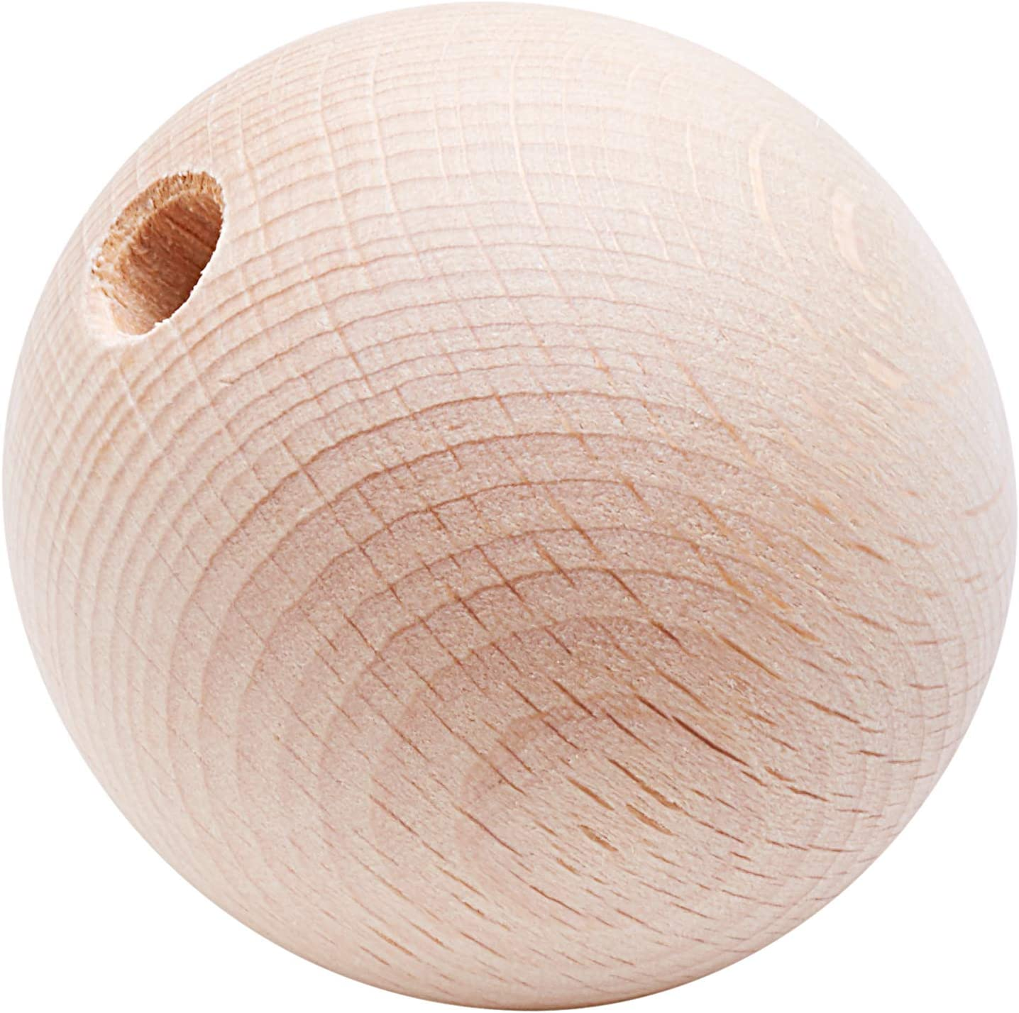 Perle en bois Ø 40 mm Boule demi-percée Ø 8 mm Rayher