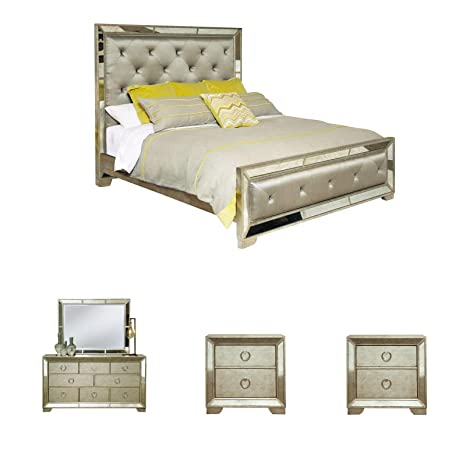 Amazon Com Sofaweb Com Celine 5 Piece Mirrored And Upholstered Tufted King Size Bedroom Set Kitchen Dining