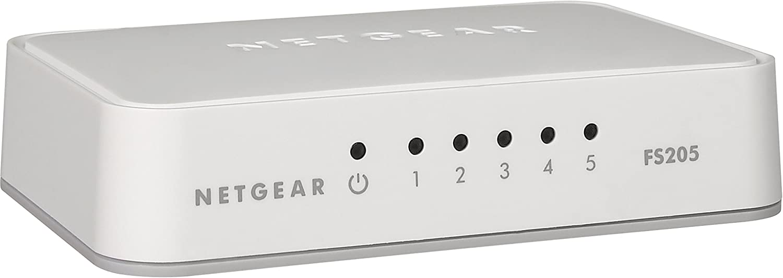 NETGEAR 5-Port Fast Ethernet 10/100 Unmanaged Switch (FS205) - Stylish Desktop for Home Office
