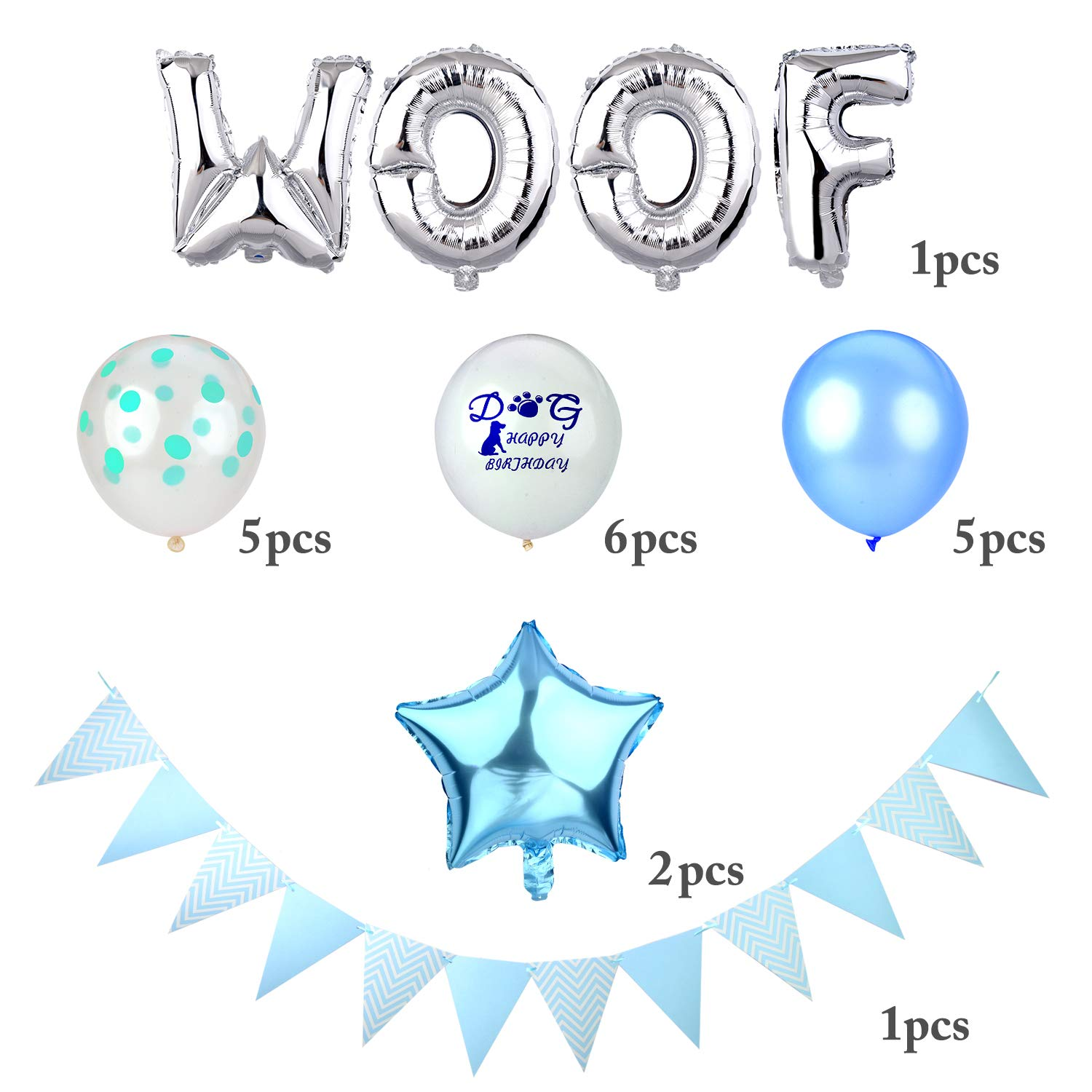 Legendog 24Pcs Dog Cat Birthday Party Supplies, Dog Boy Birthday Party Decorations, Dog Cat Birthday Party WOOF Letters Balloons, Happy Pet Birthday Party Kit (Blue)
