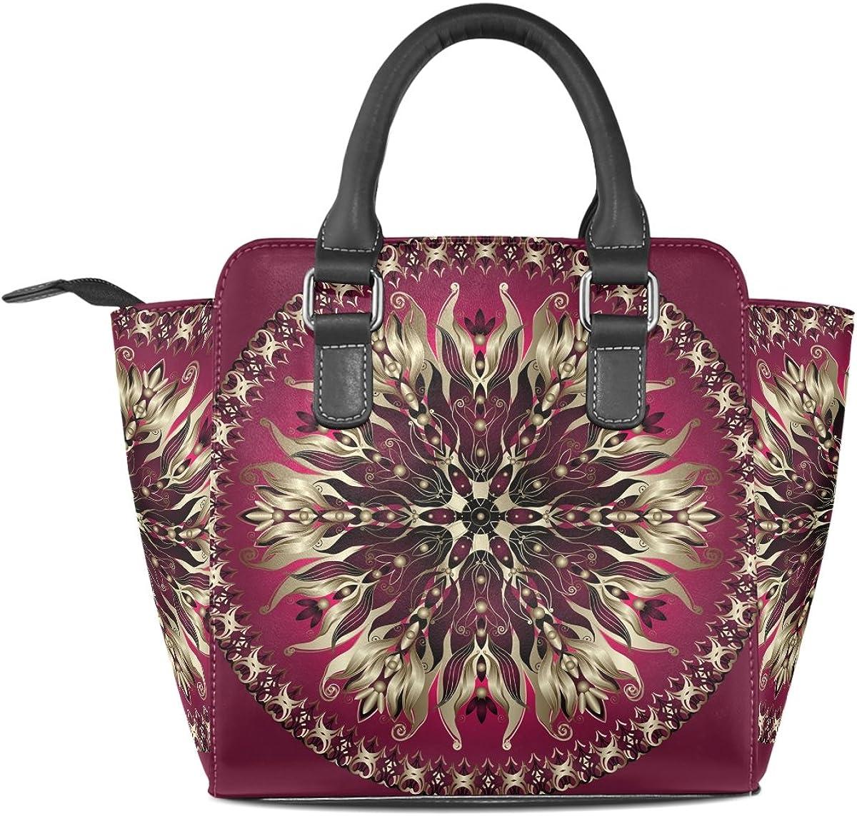 AURELIOR Purple Gold Round Floral Pattern Handbags Womens PU Leather Top-Handle Shoulder Bags