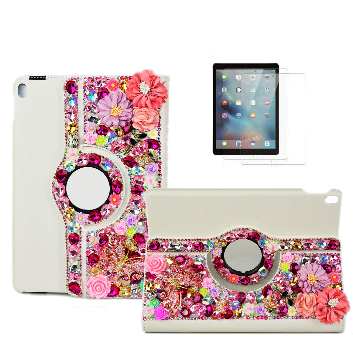 STENES Bling Case Compatible with iPad 10.2 inch 7th Gen 2019 - STYLISH - 3D Handmade Pretty Flowers Butterfly Floral 360 Degree Rotating Stand Case with Smart Cover Auto Sleep/Wake Feature - Red