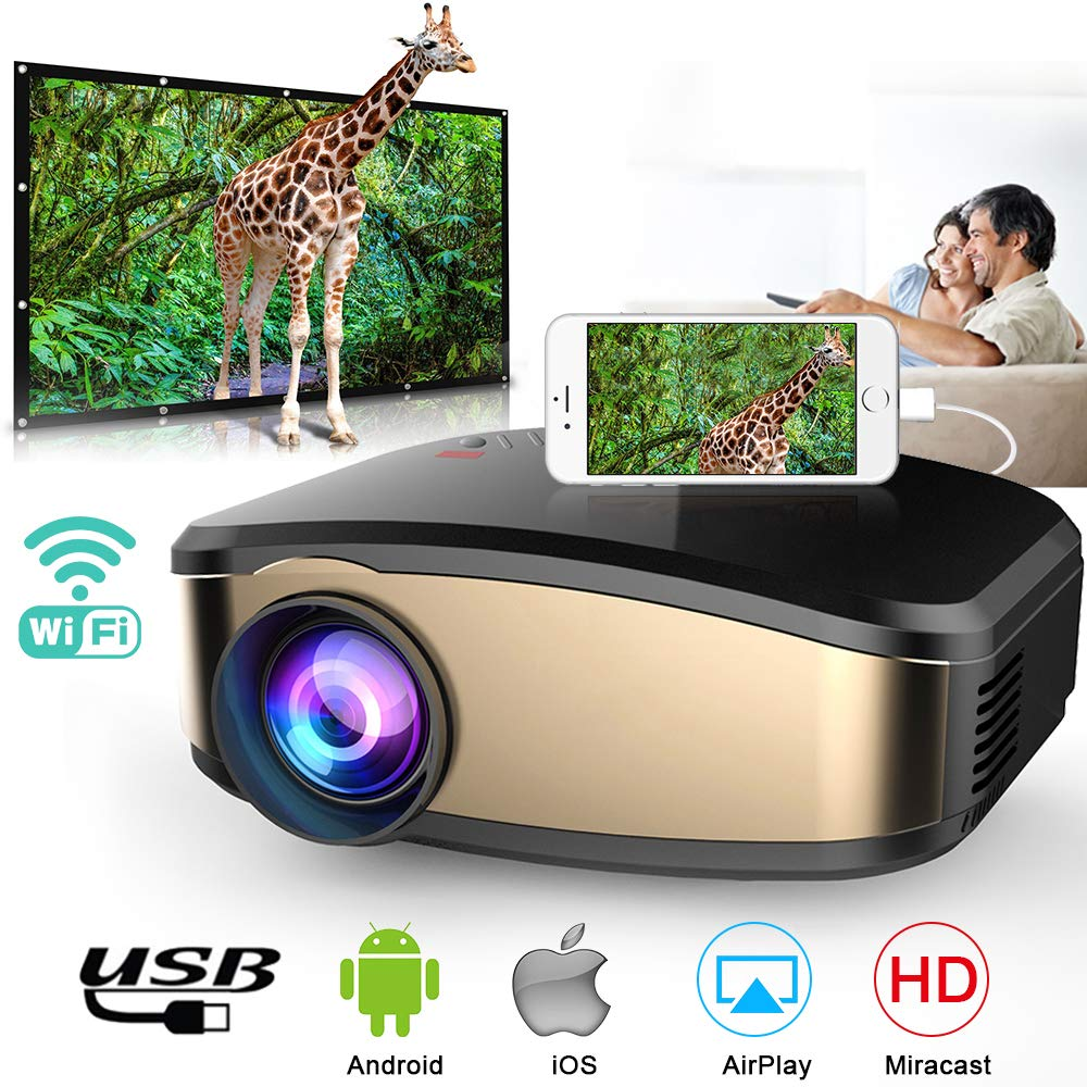 Wireless WiFi Projector, Weton Portable Mini Projector for iPhone Android WiFi Movie Projector LED Video Projector 1080P FHD Multimedia Home Theater with HDMI USB VGA SD AV Fire TV Stick PS4 Xbox