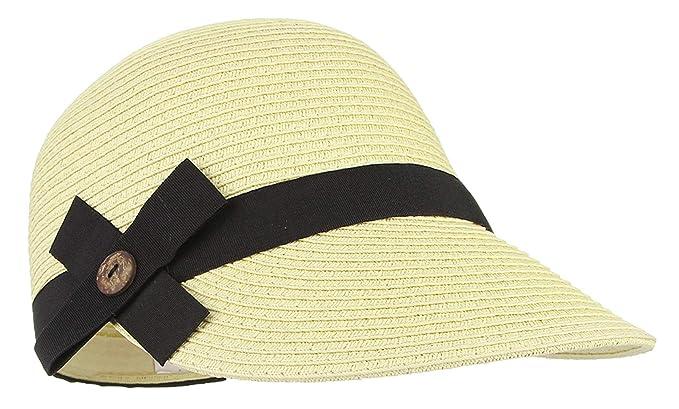 f8db44b02 Jelord Women's Casual Bowknot Straw Sun Hat Equestrian Cap Summer ...