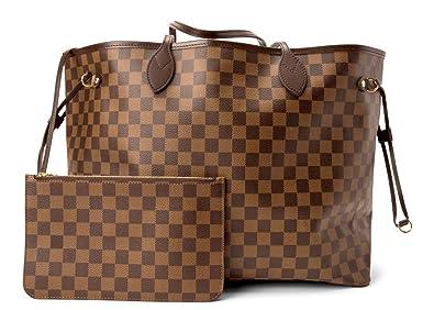 fb9fe7b66e6a4 BELIKSTORE Ladies Shopper Checkered Handbag Neverfull Style Canvas Tote Bag  for Women Top Handle Ladies Girls