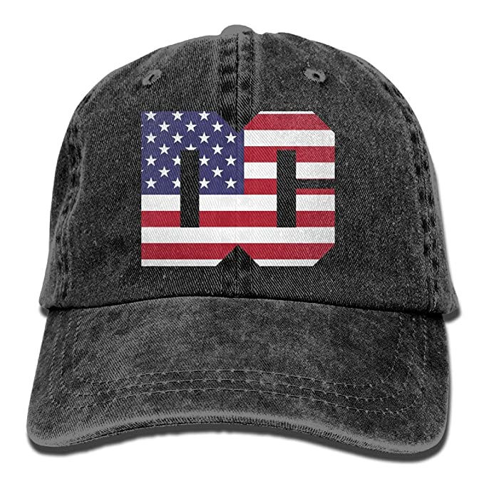 c1265cdc Washington DC Text with American Flag Unisex Baseball Cap Cotton Denim  Adjustable Hiphop Cap for Men Or Women at Amazon Men's Clothing store: