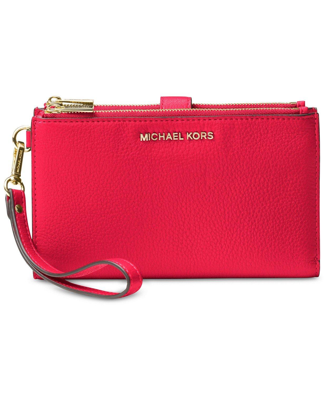 MICHAEL Michael Kors Adele Leather Smartphone Wristlet (Rose Pink)