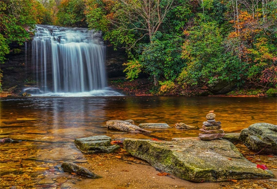 Amazon Com Csfoto 7x5ft Background Waterfall Autumn Landscape