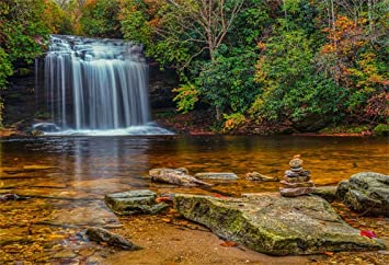Amazon Com Csfoto 7x5ft Background Waterfall Autumn Landscape Photography Backdrop Stone Stack Water Beautiful Nature Scenery Outdoors Holiday Vacation Tourism Photo Studio Props Polyester Wallpaper Camera Photo