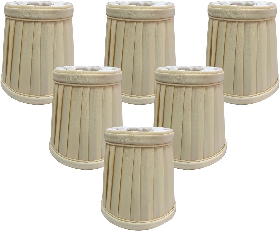 Royal Designs Pleated Empire Chandelier Lamp Shade, Eggshell, Set of 6, Size 4 CS-110EG-6