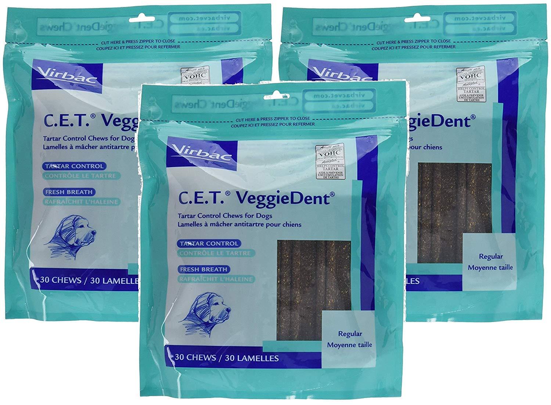 C.E.T. VeggieDent Regular Size Dog Chews, 3 Packs of 30 Dental Chews, Total of 90 Regular Chews by Virbac by Virbac