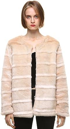 vogueearth Mujer Classic Largo Sleeve Pelo Sintético Pelaje Artificial Piel Sintética Visón Otoño Invierno Abrigo