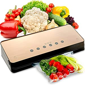 Food Vacuum Sealer Machine for Saver, Automatic Food Vaccume Sealer Machines, Food Sealers Vacuum Packing Machine with 10 Pcs Vacuum Bags, Compact Design Easy to Clean