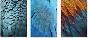 Abstract Wall Art Feather Print Painting on Canvas Modern Artwork for Home Office Decoration