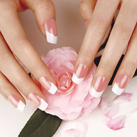 ArtPlus Uñas postizas 24pcs Silver Stripe False Nails French Manicure Full Cover Long Length with Glue
