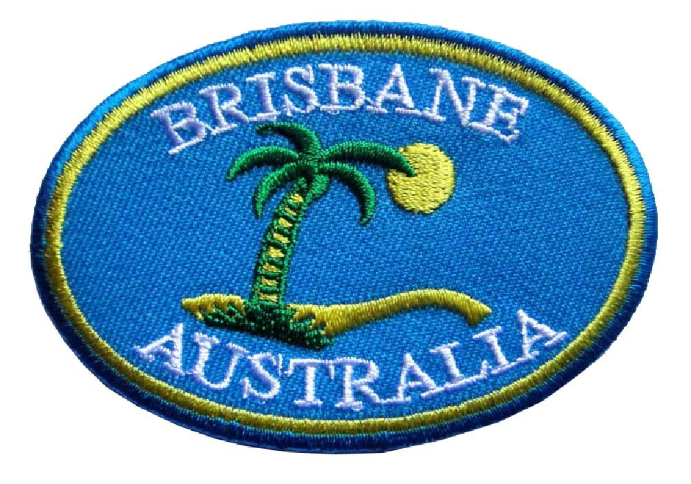 CUTE PRETTY BRISBANE AUSTRALIA LOGO Embroidered Iron on Patch Free Shipping