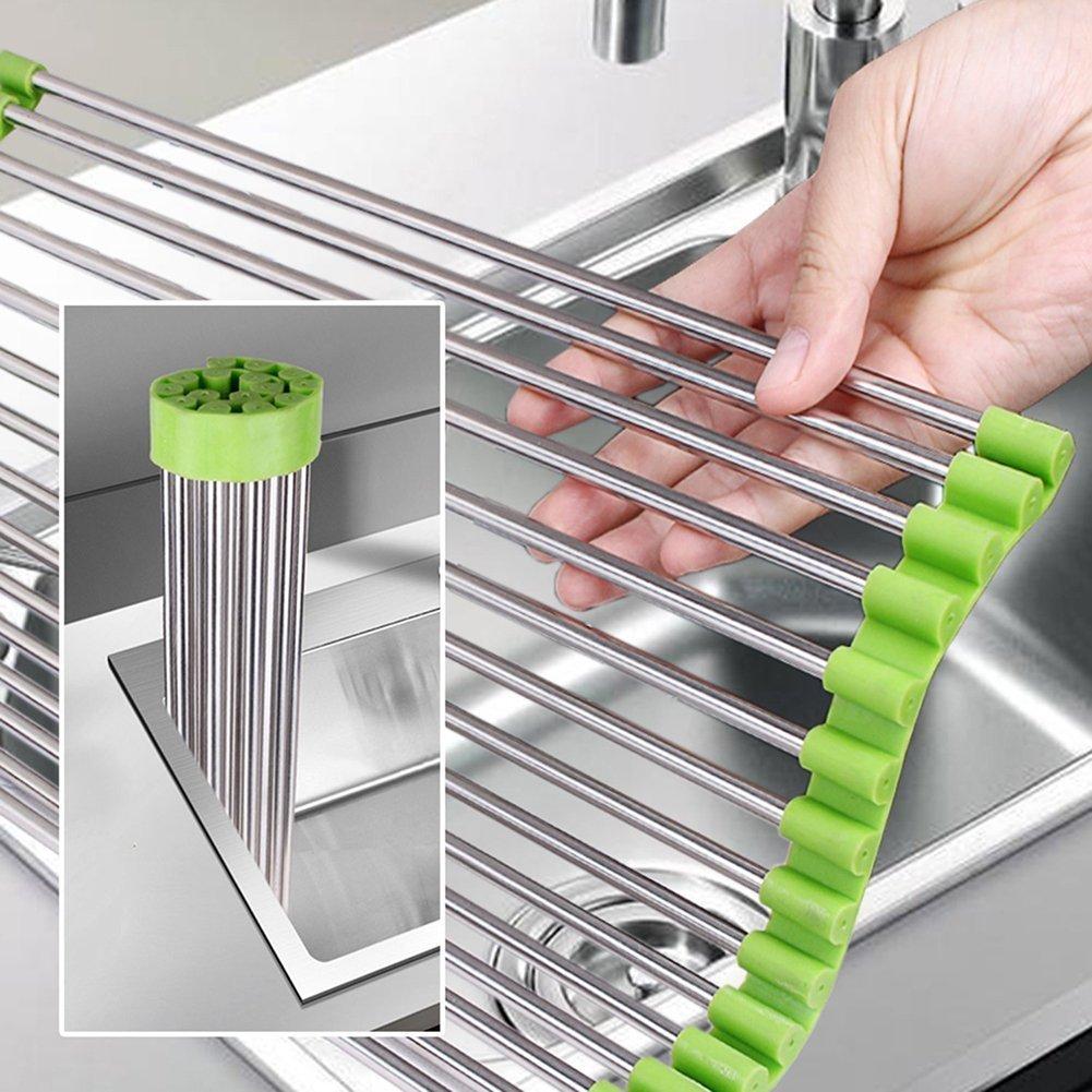 Xiton scolapiatti arrotolabile sul lavandino in acciaio INOX multifunzione, 47x 39,9cm (luce verde)