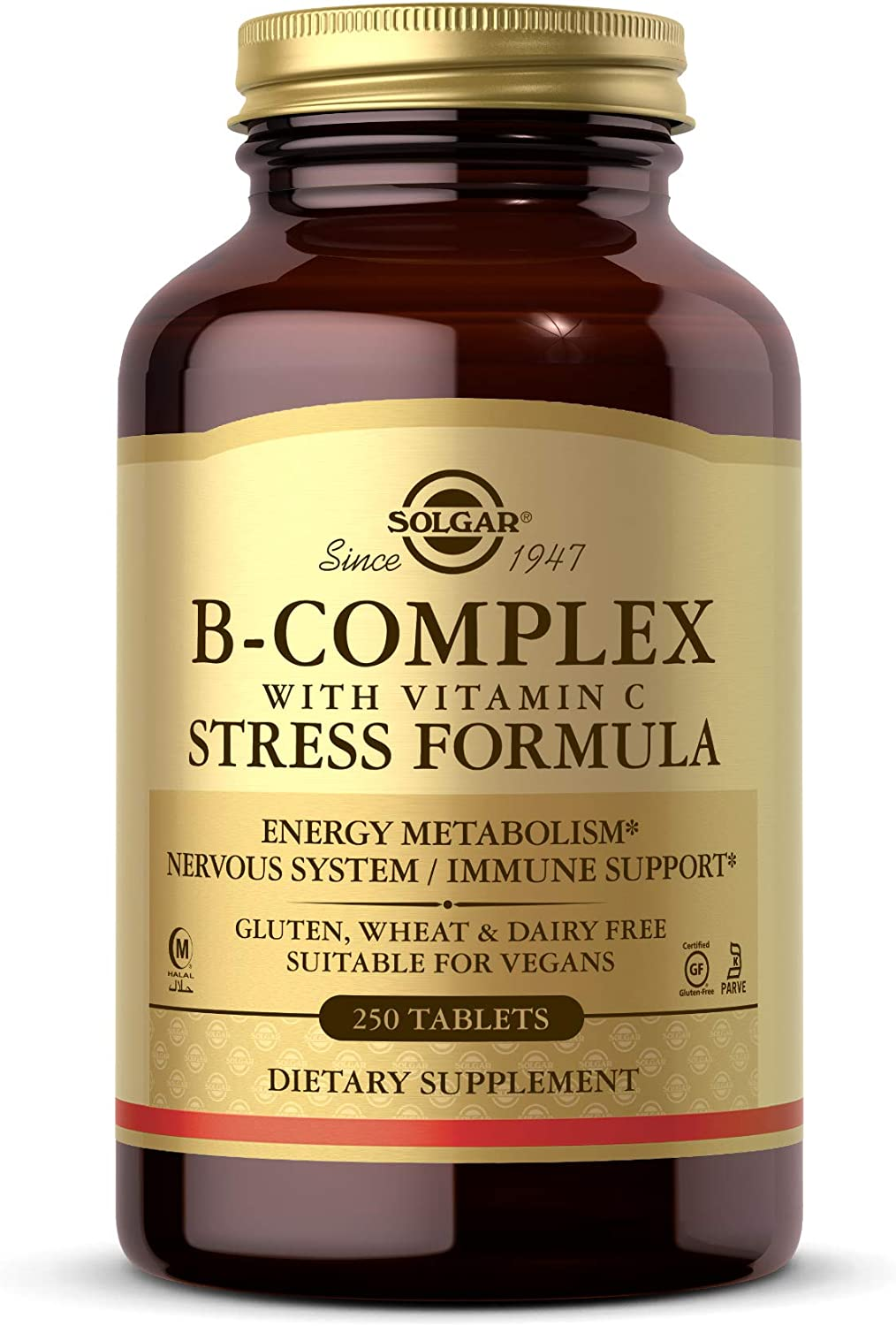 Solgar B-Complex with Vitamin C Stress Formula, 250 Tablets - Energy Metabolism, Nervous System & Immune Support - Non-GMO, Vegan, Gluten Free, Dairy Free, Kosher, Halal - 125 Servings: Health & Personal Care