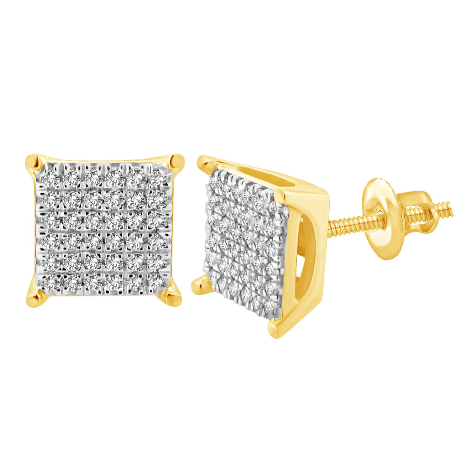 Men's and Women's 10k Yellow Gold 1/4 cttw Single-Cut Natural Diamonds Stud Earrings by eSparkle