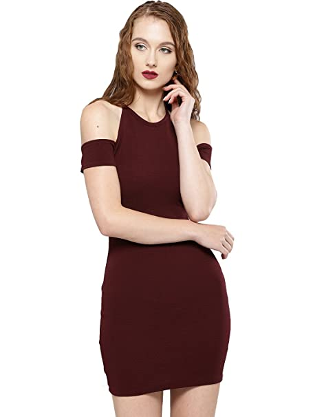 VeniVidiVici Women s Body Con Mini Dress (VVV83606 Maroon X-Small) 8e273cf11